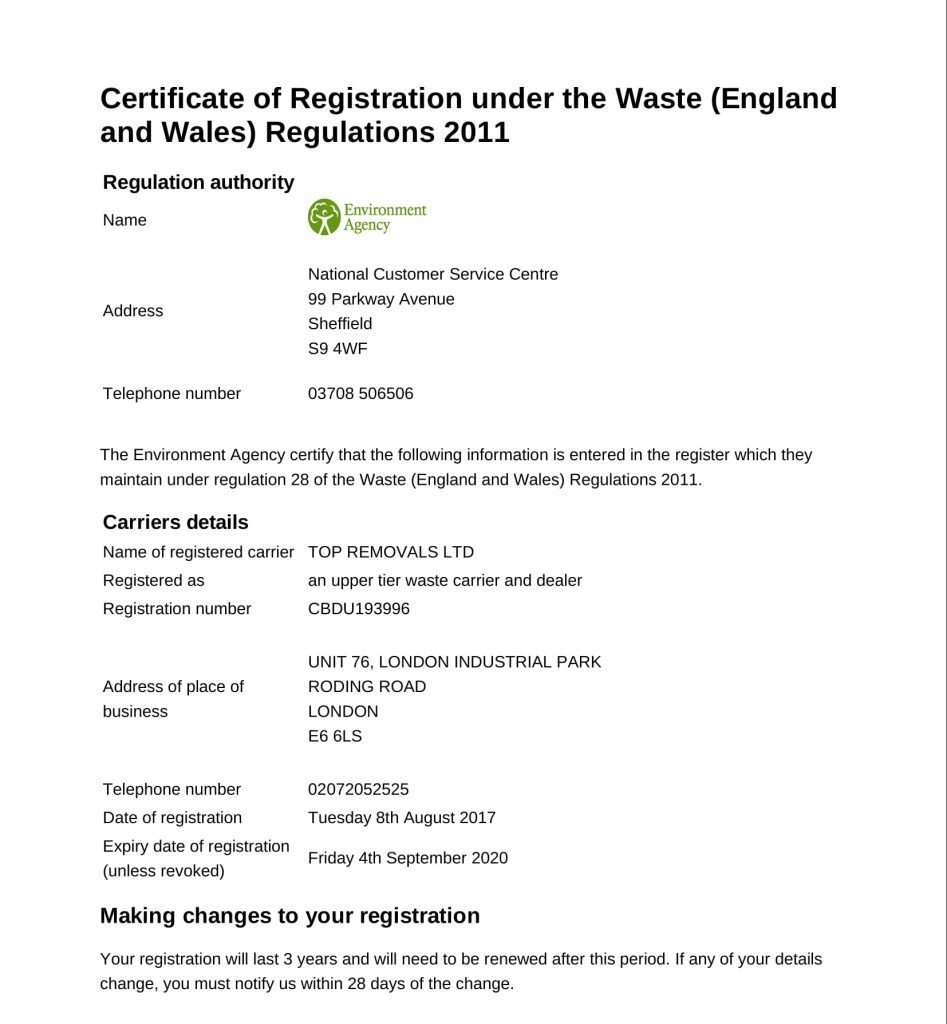 Certificate of Registration Under the Waste Regulations 2017 - 2020-1
