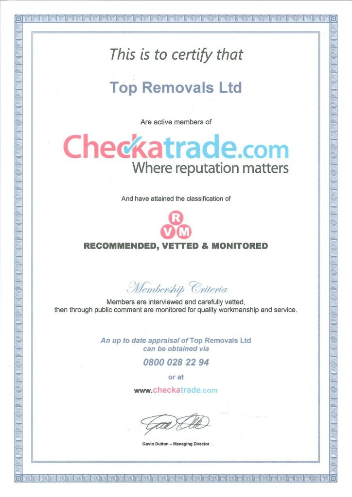Checkatrade Certificate Top Removals
