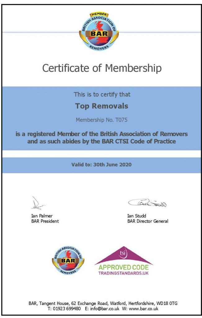 BAR Certificate Top Removals