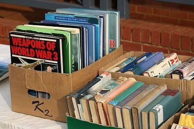 books in a box during a move to London