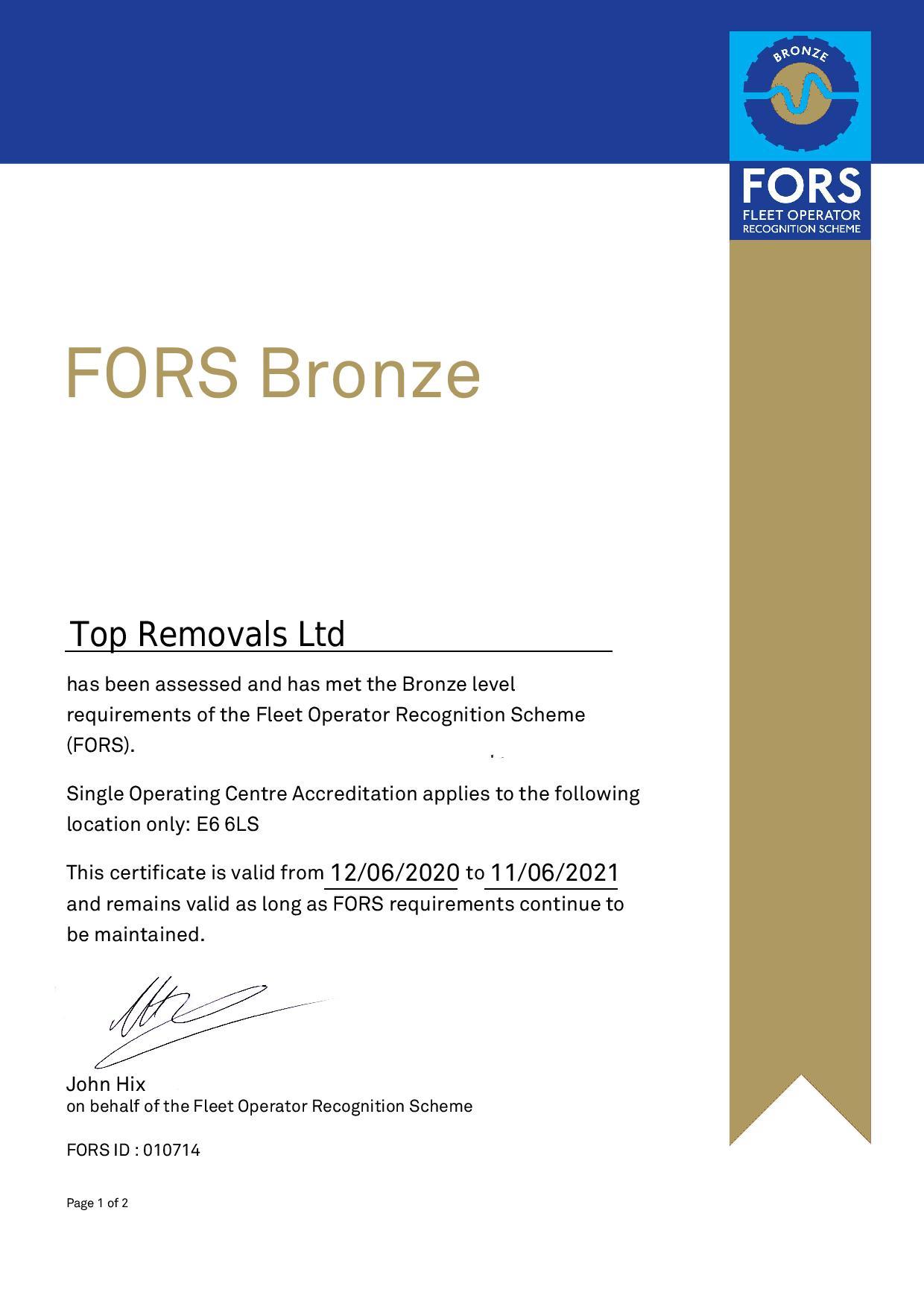 FORS Bronze Certificate Top Removals Ltd