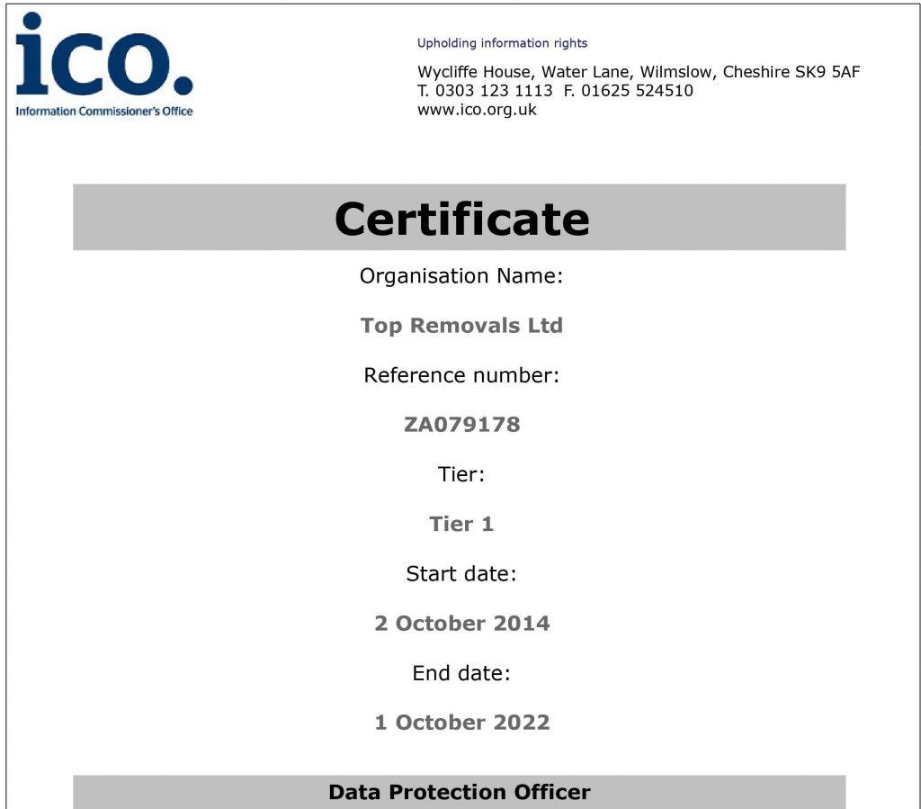 Registration Certificate Top Removals