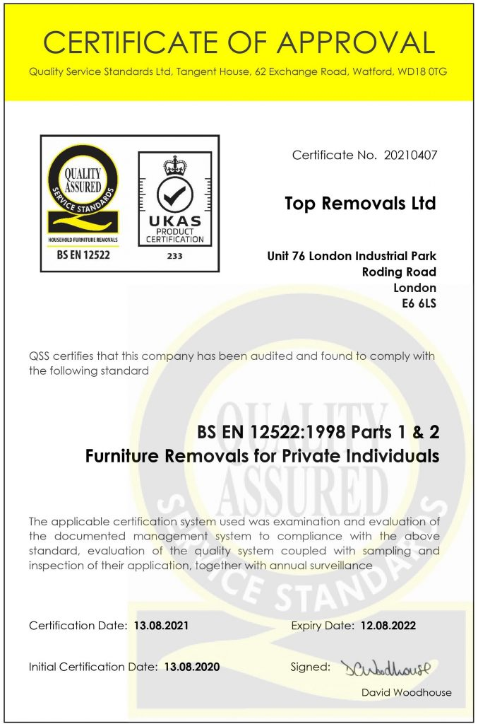 Top Removals Certificate